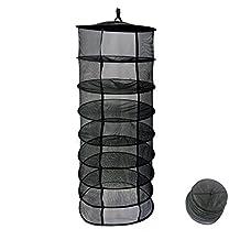 "Drying Net Hanging Drying Net Herb Dryer 8 Tier Drying Net Rack (D24"" 8-Layer,Black)"