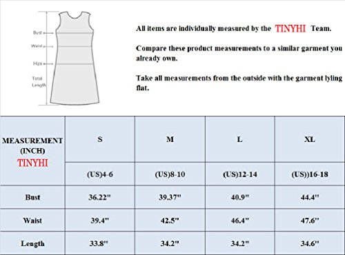 TINYHI T Ab Flowy Casual Dress Plain Swing Women's Loose Simple Tunic Fit Shirt Red HHqS1rw
