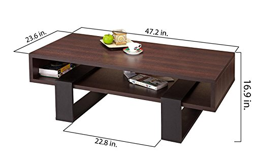 ioHOMES Monroe Rectangular Coffee Table, Walnut and Black by HOMES: Inside + Out (Image #5)