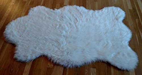 Faux Fur Sheepskin Rug White Flokati Shag 3 x5 Pelt Shape Free Form