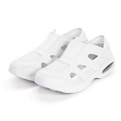 Step Luck 스텝 럭 단계 랙 의료 간호사 신발 2way 실내화 메쉬 컵 인 구두창 거북이 샌들 18550 (화이트 · 블랙 22.5cm ~ 28.0cm)