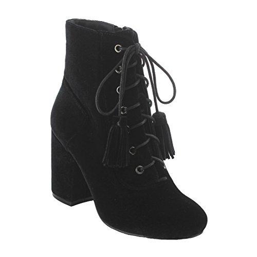 NATURE BREEZE EK42 Women's Side Zipper Lace Up Wrapped Block Heel Ankle Booties, Color:BLACK, Size:8 (Up Black Shoe Lace Velvet)