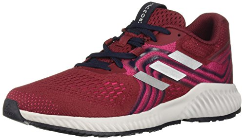 adidas Women's Aerobounce 2 Running Shoe, Noble Maroon/Silver Metallic/Real Magenta, 9.5 M US