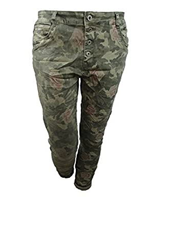 LEXXURY Baggy copain étirement des femmes pantalon jean rangée ouverte de  boutons Front fermeture éclair Camouflage 4253116a5ca6