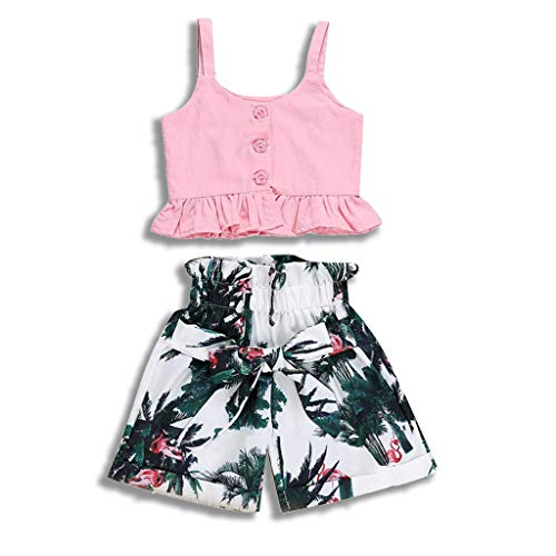 Girls Flower Crop Pant - Divilon Toddler Baby Girls Summer Outfits Vest Top Shirts +Floral High Waist Shorts Clothes Sets (Pink, 2-3 Years)