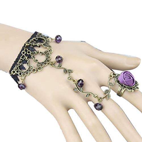 lEIsr00y Lady Men's Ring2Pcs Victorian Rhinestone Rose Flower Slave Bracelet Wedding Bridal Jewelry for Friendship,Love,Affection- Purple