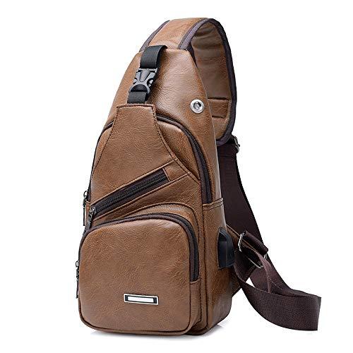 Bag Cargador USB Pecho Cross PU Hombro caqui Casual Crossbody Hombre marrón Body Queta Viaje Pack café 7qawg7x
