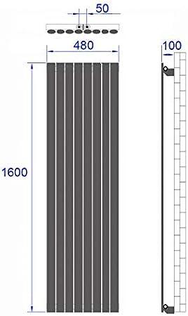 Design Heizk/örper 60 x 100 cm Heizk/örper Doppellagig 1598 Watt Mittelanschluss Heizkoerper Heizung Horizontal-Antrazit