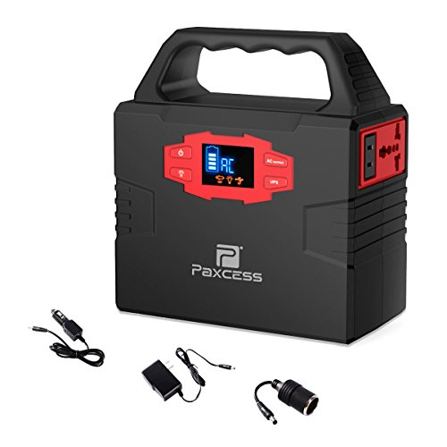 PAXCESS PA100W Home Camping Emergency Power Supply Charged by Solar Panel/Wall Outlet/Car with Dual 110V AC Inverter Portable Generator, DC 12V, USB Ports