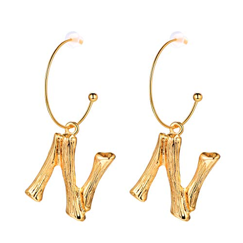 FOCALOOK Letter Charm Bamboo N Dangle 18k Gold Plated Round Hoop Drop Initial Earrings for Women ()