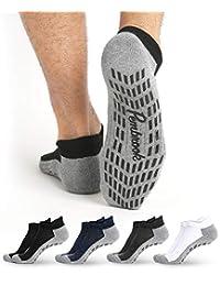 Calcetines antideslizantes para el tobillo (4 pares) – Calcetines antideslizantes para barre yoga, pilates, maternidad, embarazo, hospital, adultos, hombres y mujeres