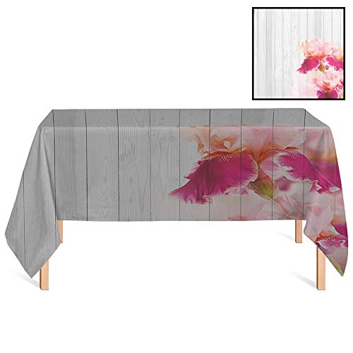 SATVSHOP Mildew-Proof Tablecloth/36x55 Rectangular,Vintage Spring Theme Rustic Wood with Sweetpea Wildflower Blossoms Romantic Artsy Design Pink Purple Grey.for Wedding/Banquet/Restaurant. ()