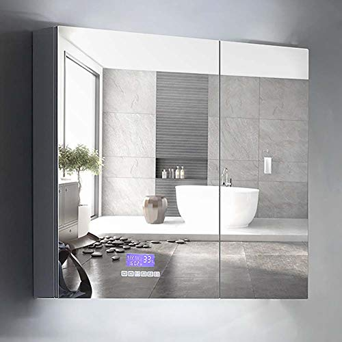 Bathroom mirror _ Wall-Mounted Intelligent defogging Mirror Cabinet Stainless Steel with lamp -