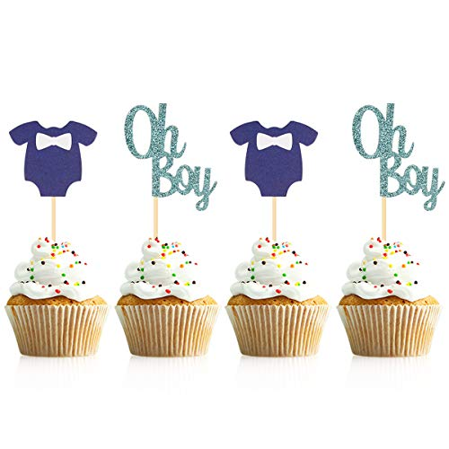 Donoter 48 Pcs Oh Boy Cupcake Toppers Blue Baby Jumpsuits Cupcake Picks for Baby Boy Shower Cake Decorations -