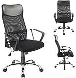 Modello N. 0341 - Sedia da ufficio ergonomica, con schienale reclinabile in rete, colore: Nero