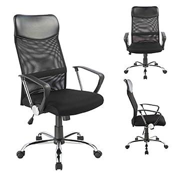 Drehstuhl ergonomisch  Bürostuhl Chefsessel Ergonomisch Netzstoff Wippfunktion in Schwarz ...