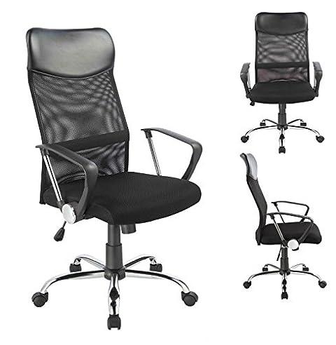 Schreibtischstuhl ergonomisch  Bürostuhl Chefsessel Ergonomisch Netzstoff Wippfunktion in Schwarz ...