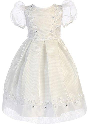 - Little Girls Lace Trim Box Pleats Short Sleeve Baby Christening Dresses White Size 2