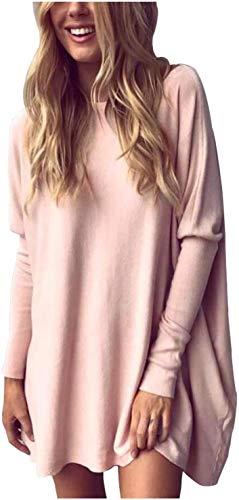 Dames Oversized Shirt Pullover Baggy Batwing Lange Mouw Top Blouses Katoen Women Losse Jumper T Shirt Trui Tuniek, S-3XL