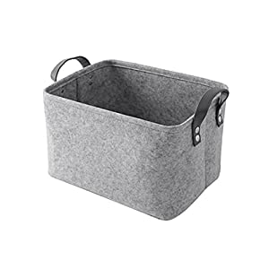 Pinji-Felt-Storage-Basket-Storage-Bins-Organizers-with-Handles-Toy-Book-Hamper-for-Kids-Bedroom-Office-Closet-Grey-S