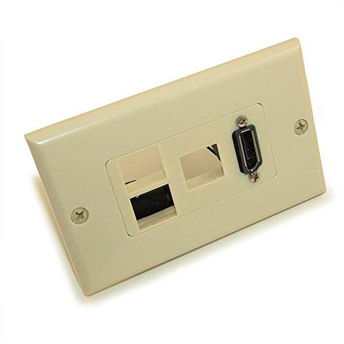 (MyCableMart Wall Plate: DisplayPort + 3 Hole Keystone, Ivory)