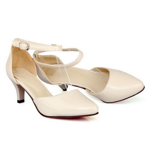 VogueZone009 Womens Closed Pointed Toe Kitten Heel Patent PU Solid Mary-jane Pumps with Metal Buckles Apricot FYkJYTla