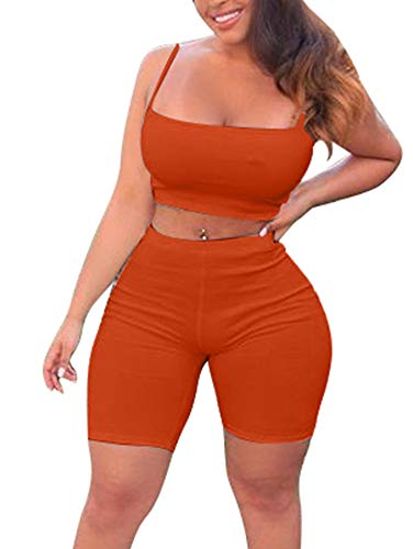 TOB Women's Bodycon 2 Pieces Outfit Spaghetti Strap Crop Tank Top Shorts Pants Orange