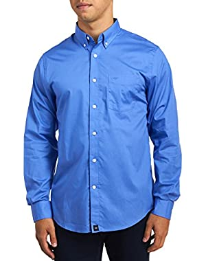 Men's Long Sleeve Solid Button Front Shirt