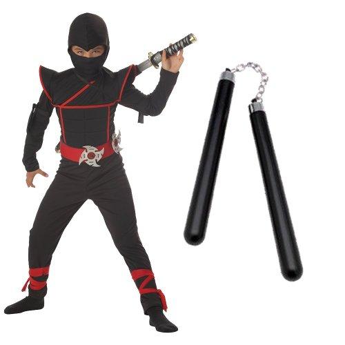 Stealth Ninja Child Costume with Nunchucks, Husky (10-12)