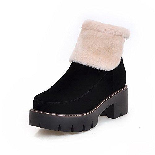 AgooLar Women's Blend Materials Assorted Color Zipper Round Closed Toe Kitten-Heels Boots Black uWRJ7qjvM