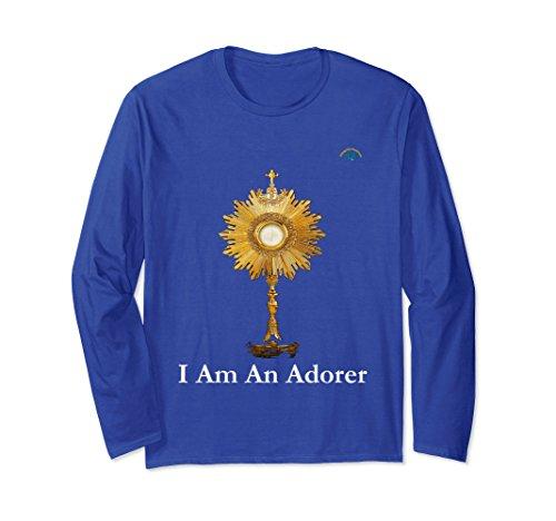 Unisex Eucharistic Adoration Long Sleeve Tshirt - Premium Quality XL: Royal Blue