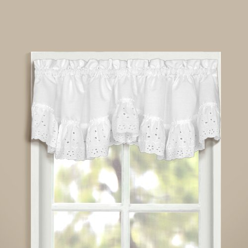 United Curtain Vienna Lace Double Crescent Valance, 60 by 15-Inch, White
