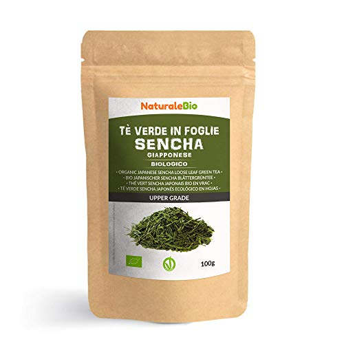 Te verde Sencha Japones Organico [ Upper grade ] de 100g 100% Bio, Natural y Puro, Te verde en hojas de la primera cosecha, cultivado en Japon Organic Japanese Sencha Green Tea NaturaleBio