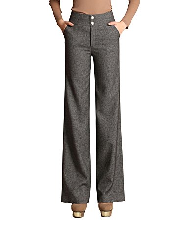 Women's High Waist Boot-Cut Pants Palazzo Pants Slacks Office Work Wide Leg Suit Pants Grey Tag 32-US (Wide Leg Gabardine Pant)