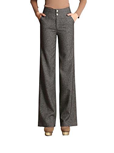 Flare Slacks - Women's High Waist Boot-Cut Pants Palazzo Pants Slacks Office Work Wide Leg Suit Pants Grey Tag 30-US 6