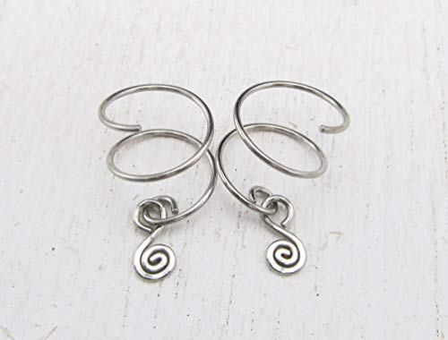 Double Piercing Earrings with Spiral Charm for Two Side by Side Ear Piercings in 316L Stainless Steel