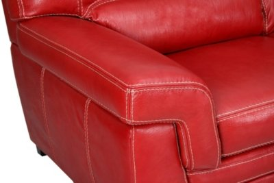 Canape Angle Droit Luciano Buffle Croute Cuir Rouge Amazon Fr