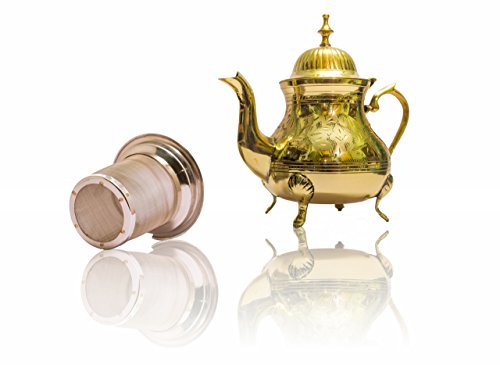 Handmade Tea Gift Set| Premium Brass Teapot with Stainless Steel Infuser for Loose Leaf Teas| Handmade Antique, Vintage Design to Suit Modern and Traditional Home Decor Themes| 25 ounces or 750ml (Vintage Silver Teapot)