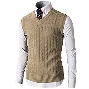H2H Mens Casual Knitted Pullover Cable Sweater Solid Soft Acrylic Links-Vest