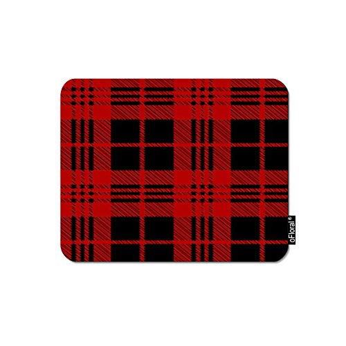 oFloral Buffalo Plaid Mouse Pad Gaming Mouse Pad Red Black Buffalo Checker Geometric Tartan Stripes Decorative Mousepad Rubber Base Home Decor for Computers Laptop Office 7.9X9.5 -