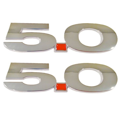 5.0 Liter Chrome Fender Emblems Ford Mustang F150 - Pair