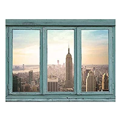Wall26 - Architectural Skyline View - Skyscrapers lit with an Early Morning Rising Sun - Empire State Building New York City - Wall Mural, Removable Sticker, Home Decor - 36x48 inches