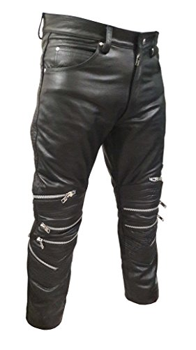 Olly And Ally Mens Sexy Real Black Leather Motorcycle Bikers Pants Jeans Trousers J7 W32 X L34 Leather Biker Jeans