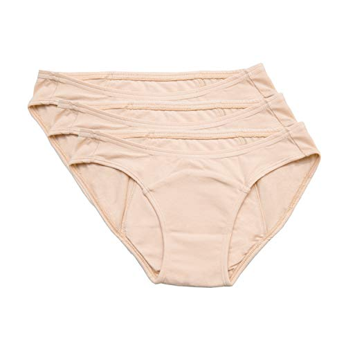 Hesta Rael Organic Cotton Period Panties - Menstrual Underwear, Extented Protection Layer, Leakproof Breifs, Comfortable, Breathable, Safe on Sensitive Skin for Women (Large, 3Natural)