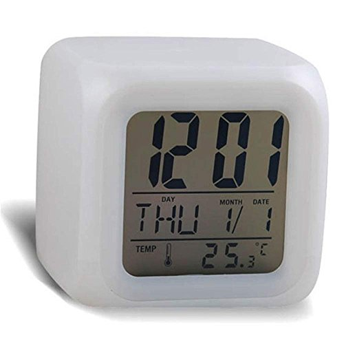 Fan-Ling Fashion Color Changing LED Alarm Clock,Night Glowing 7 Colors Cube Digital Thermometer Clock