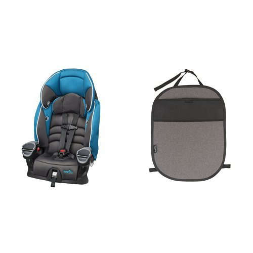 Evenflo Maestro Booster Car Seat Thunder with Car Seat Kick Mat with Storage Pocket, Black