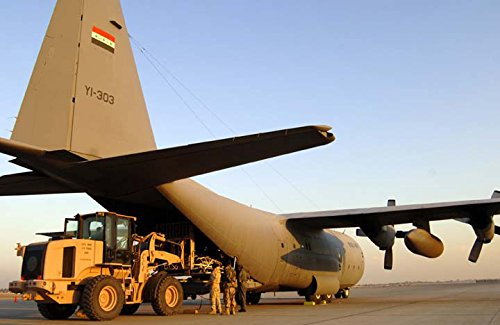 Home Comforts LAMINATED POSTER Luggage belonging to about 65 Iraqi police recruits is boarded an Iraqi C-130 Hercules set to transp -