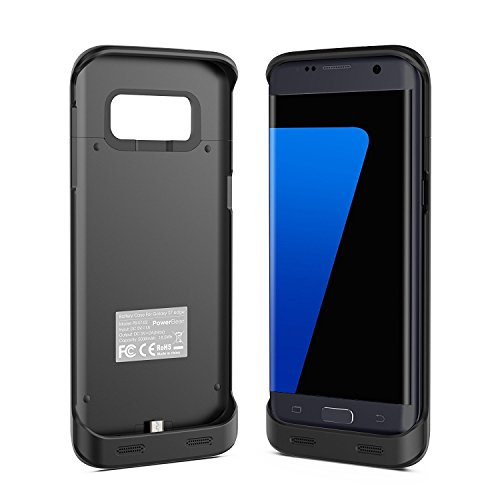 PowerBear Samsung Galaxy S7 Edge Battery situation 5000 mAh great Capacity External Battery Charger for the Galaxy S7 Edge Black 24 Month manufacturer's warranty and television screen Protector incorporated Battery Charger Cases