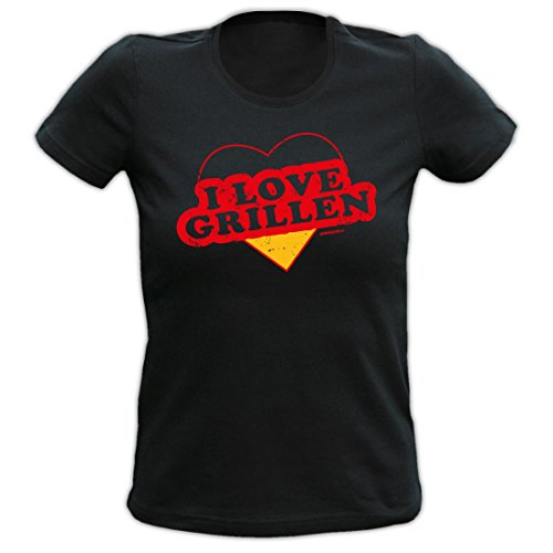 Girlie Shirt für Mädchen und Frauen von Goodman Design - I Love Grillen - wunderbar als Geschenk zum Grillen