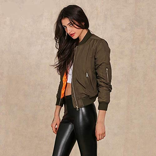 Outwear L Jacket Army Apparel Parkas Bomber Imbottito Green Down Cool Hpklsder Biker Cappotto Zipper S Winter Basic Donna W18qZa